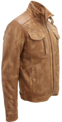 100Leather Biker Jacket Men's Vintage Tan 0OP8nwk