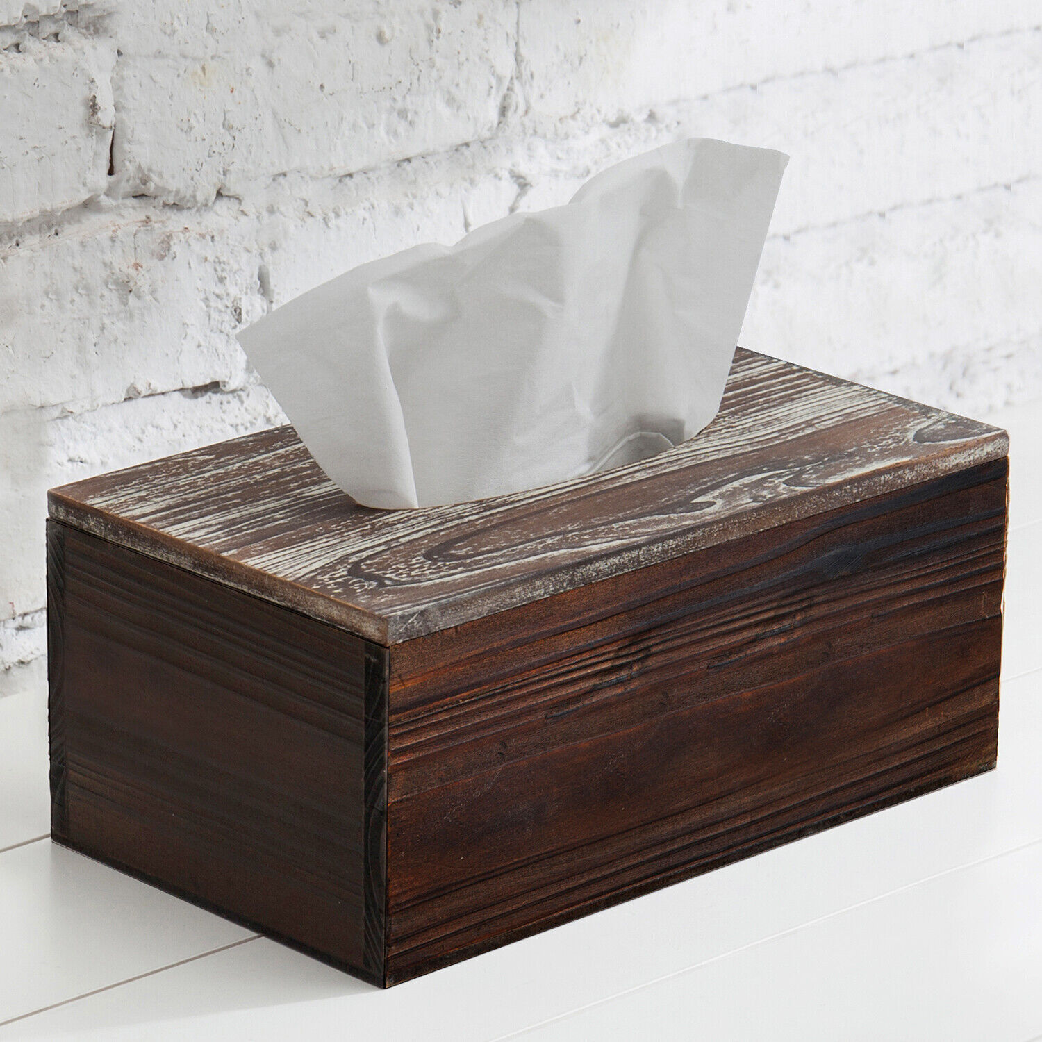 MyGift Rustic Distressed Textured Torched Wood Rectangle Tissue Box Holder Cover