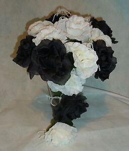 Brautstrauss Hochzeitsstrauss Schwarz Weiss Blumenstrauss Hochzeit Ebay