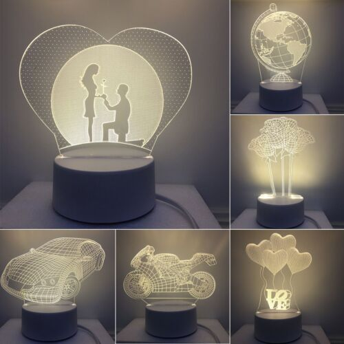 3D Lamp LED Night Light 3 Color USB Touch Table Desk Lamp Kid Gift Game