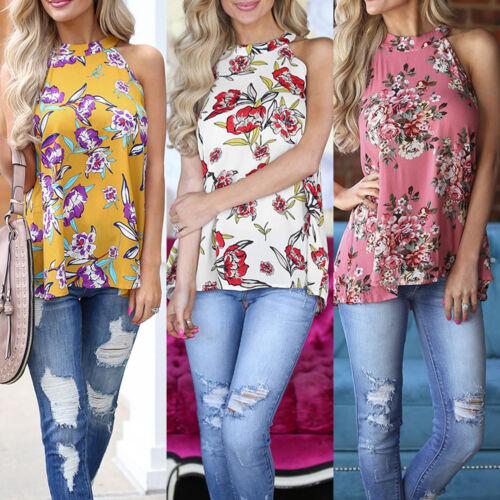 Boho Women Summer Vest Shirt Top Sleeveless Blouse Gypsy Beach Tank T-Shirt UK
