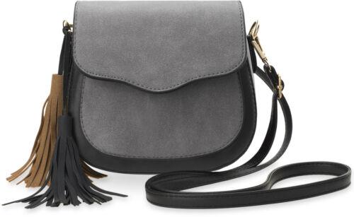 kleine stilvolle Damentasche Schultertasche Nubuk Optik Fransen grau