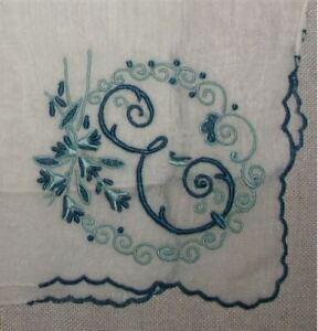 E-Initial-Monogrammed-Hankie-Vintage-Madeira-Linen-Navy-Blue-Light-Blue-Beauty