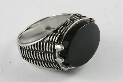 Besorgt Herrenring Onyx Siegelring Silberring Echt 925 Silber / 555