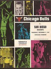 12-7-67 CHICAGO BULLS VS SAN DIEGO ROCKETS GAME PROGRAM