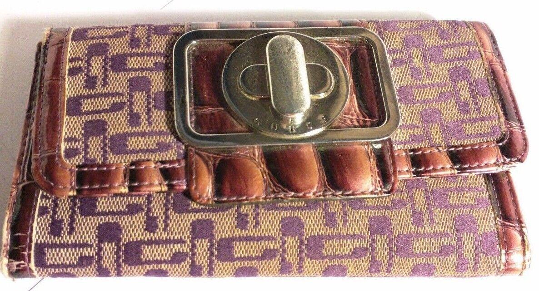 Guess Purple Logo Print Animal Print Wallet with G Emblem Button Closure