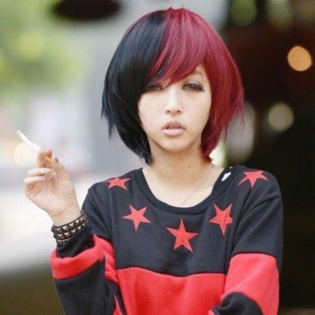 Fashion Japanese Harajuku Zippe Short Black & Red Lolita Cosplay Party Wig