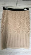 H&M Beige Lace Overlay Lined Stretch Pencil Skirt~Small