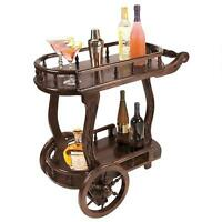 Solid Hardwood Antique Replica English Bar Tea Coffee Cart Wheeled British Caddy
