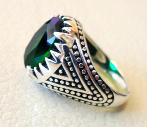 925Sterling Silver Certified Handmade 6 Ct Emerald Gemstone Christmas Mens Ring