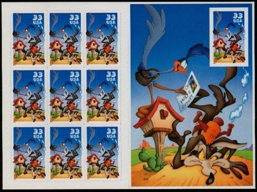 10 Mint Road Runner Wile E Coyote Looney Tunes STAMPS MNH Pane Unfolded Booklet