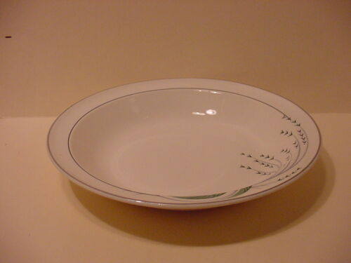 TAYLOR SMITH TAYLOR  SOUP CEREAL BOWL GREEN WHEAT    PLATINUM  TRIM  U.S.A.