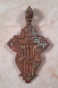 Antique Christian Russian Cross Pendant 18th-20th Century Copper Alloy Bronze 08
