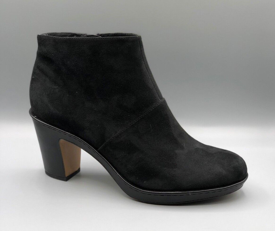 NEW Clarks  Dulcie Sue  Ladies Black Suede Ankle Boots   Heels UK 7.5 D