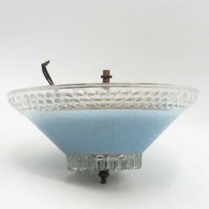Vintage verre deco abat-jour lampe plafond luminaire & Cover Bleu Givré cloutés