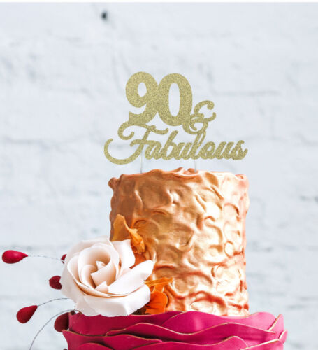 90th Birthday Cake Topper Glittery Silver 90 /& Fabulous Cake Topper