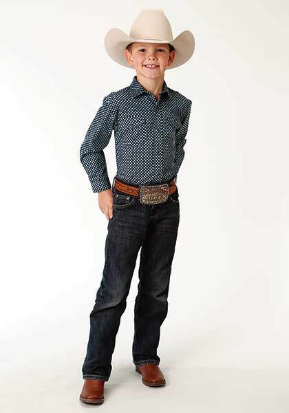 Roper Boys yellow bluee Green Long Sleeve Western Show Rodeo Shirt with Snaps