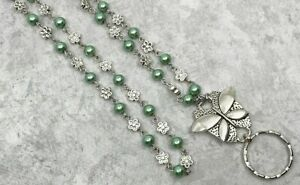 Butterfly-and-Green-Pearl-Lanyard-Beaded-ID-Badge-Holder-Breakaway-Opt