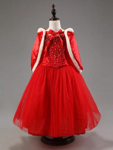 UK Kids Girls Christmas Costume Princess Birthday Party Fancy Dress With Cape