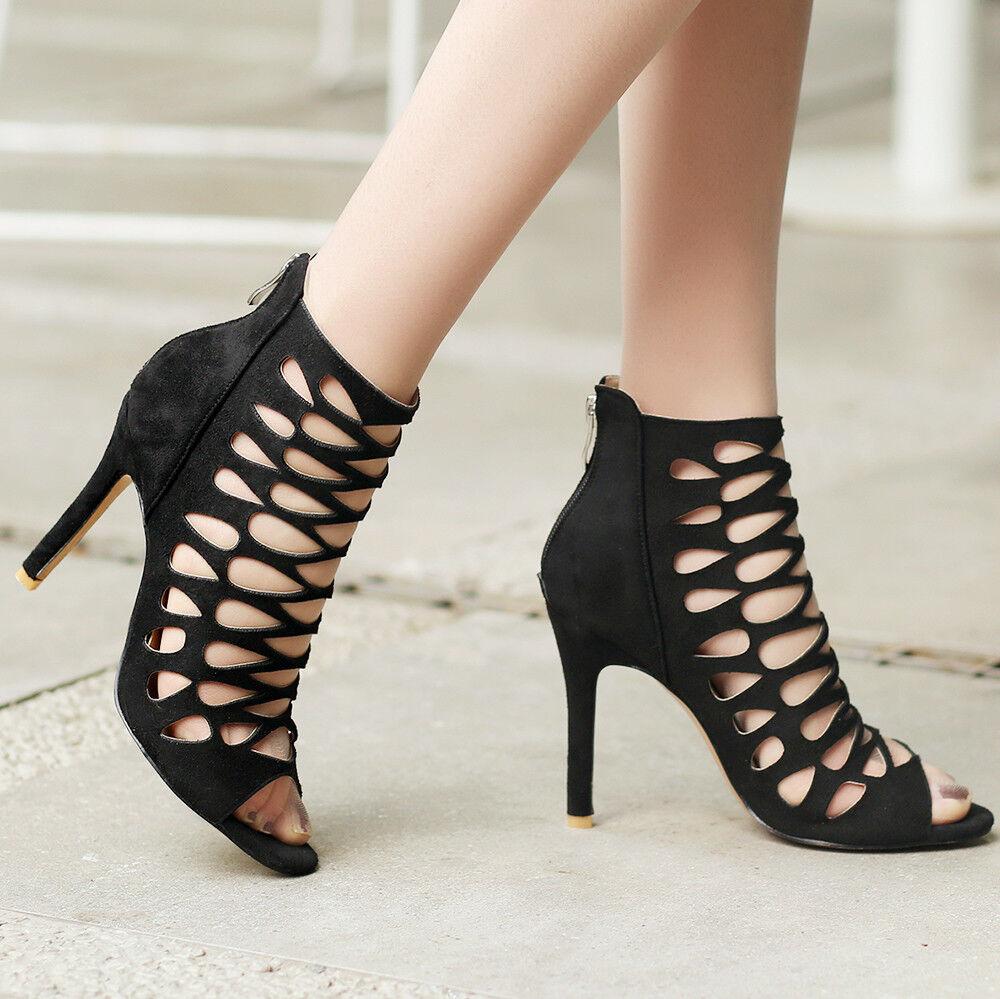Womens Gladiator Sandals High Heels US Stilettos Party Pumps shoes US Heels 8=Black 126f64