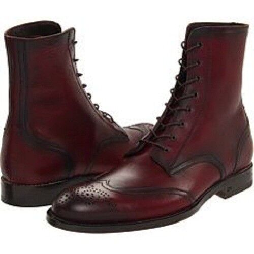 Handmade Mens wingtip burgundy ankle boots, Men lace up ankle boots, Men boots