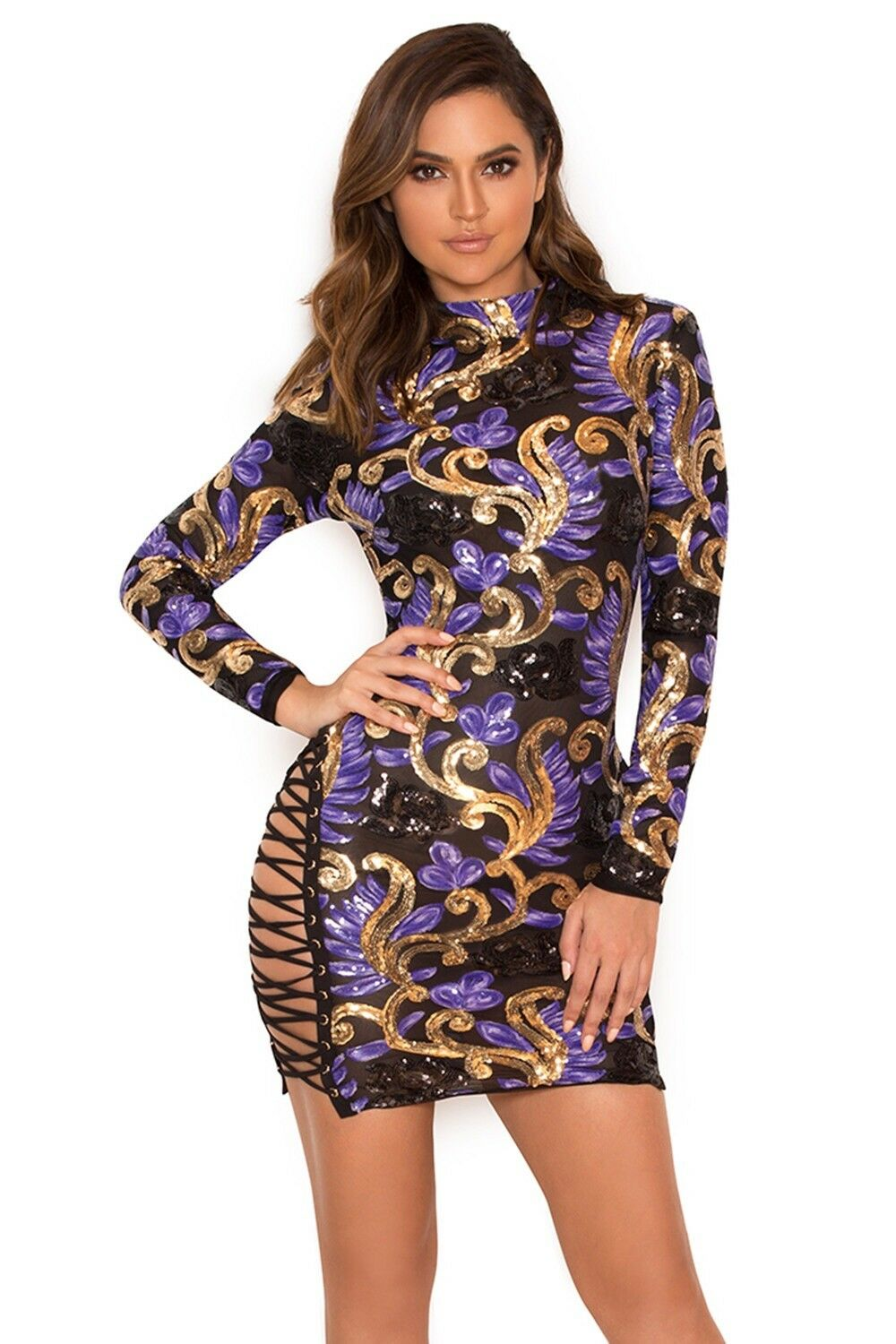HouseofCB Taya purple and gold sequin sequin sequin mini dress 481df0