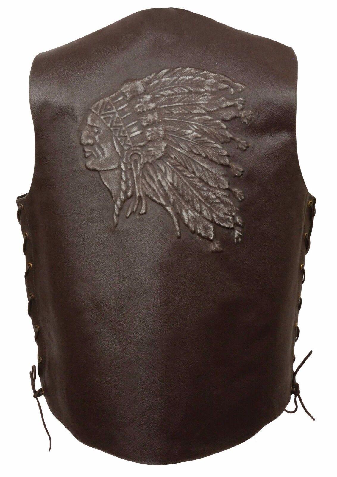 Herren Braun Solid Leder Vest w Embossed Native American Head