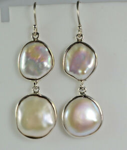 Fresh-Water-Coin-Pearl-925-Solid-Sterling-Silver-Handmade-Dangle-Drop-Earrings