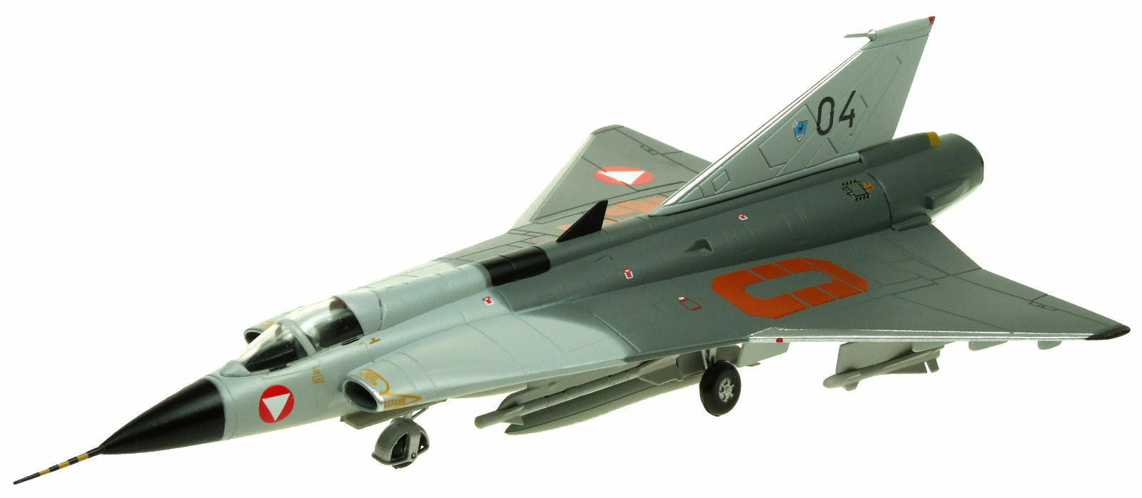 AVIATION72 AV7241006 1 72 SAAB DRAKEN J35 AUSTRIAN AIR FORCE 04 WITH STAND