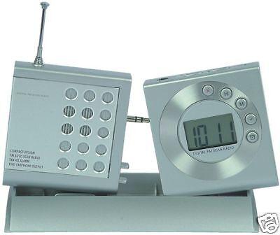 Mini Radio + Sveglia Orologio Digitale Portatile Tasca A Batteria Da Viaggio
