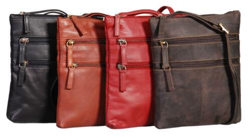 Ladies Cross Body Leather Bag Travel Sling Messenger Black-Brown-Red-Coffee NEW