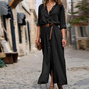 Details about Women Casual Long Sleeve Button Down Loose Long Maxi Party Shirt Dress Plus