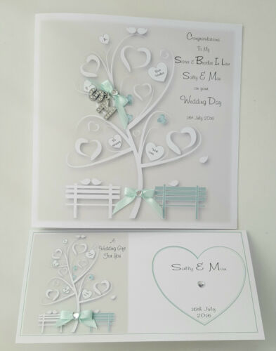Personalised Wedding Card Money Wallet Sage Sister Brother In Law BOXED OPTION