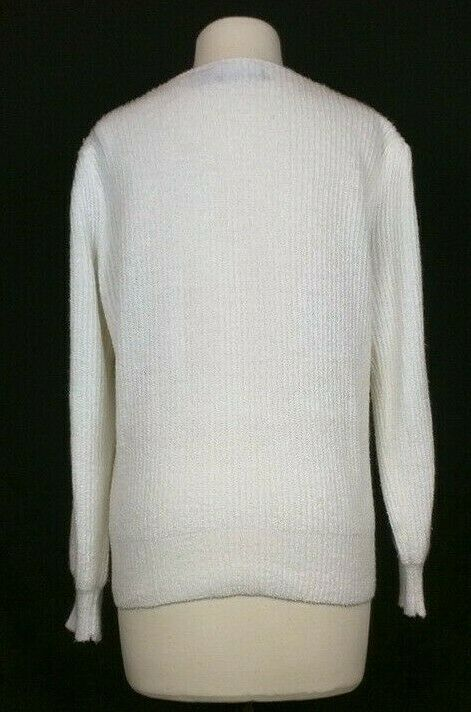 Vintage 80s Cardigan Sweater Off White Puffed Sho… - image 4