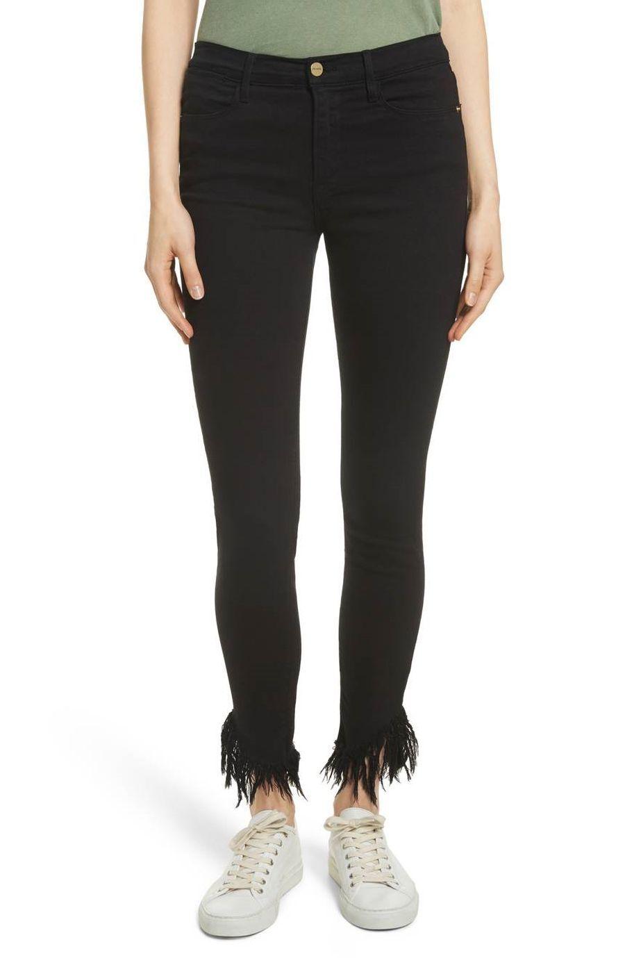 Frame Denim Le High Shredded Skinny Jean - black Size 25   0