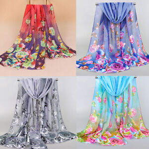 Women-Elegant-Chiffon-Neck-Scarf-Scarves-Wrap-Soft-Shawl-Flowers-Feather-Printed