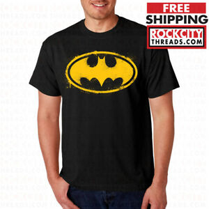 BATMAN-SPRAY-PAINT-LOGO-T-SHIRT-Joker-Dark-Knight-Comic-Symbol-DC-Comics-Shirt