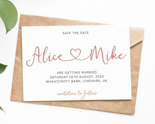 Luxury Wedding Save The Date Cards Professionally Printed With Envelopes