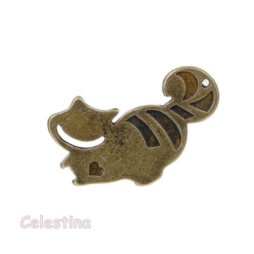 4 X Antique Bronze Cheshire Cat Charms Alice au Pays des Merveilles Breloques Chats Pendentifs