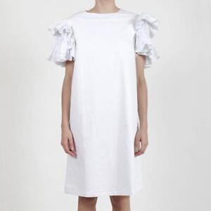 New-ALPHA60-Baen-White-Cotton-Linen-Ruffle-Frill-Sleeve-Shift-Dress-S-AU8-220