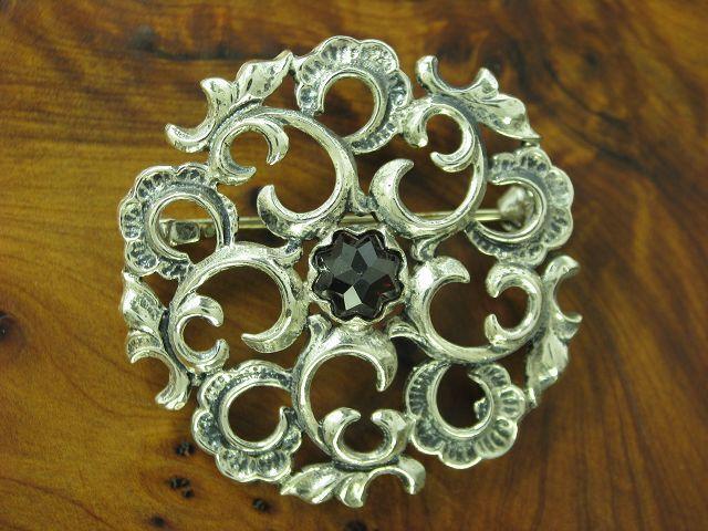 800 spilla argentoo argentoo argentoo con guarnizione in Granata in puro argentoo 9 2g Ø 37 3mm b0f25d
