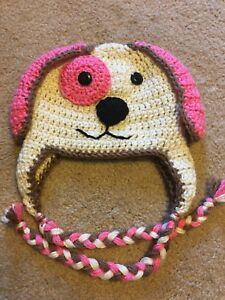 c4c42636 Details about New Handmade Girl's PUPPY Dog crochet Hat in All Sizes