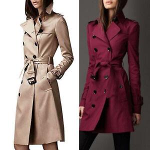 9c22d4ff24b3d Women Winter Warm Lapel Double-Breasted Slim Long Trench Coat Jacket ...