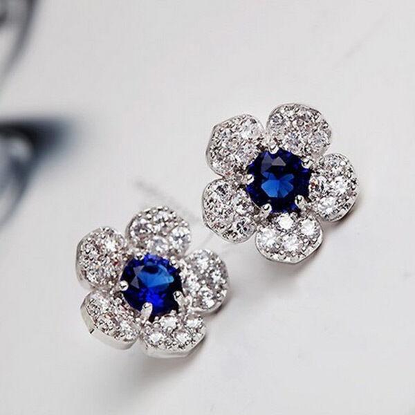 Women Lady New Hot Elegant Blue Crystal Flower Ear Studs Earrings Jewelry