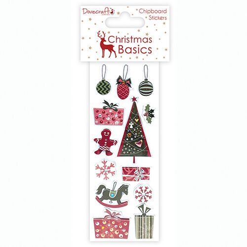 CHRISTMAS BASIC CHIPBOARD STICKER EMBELLISHMENTS  FOR CARDS AND CRAFTS-SET 2