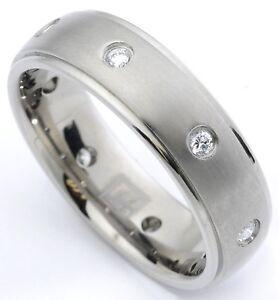 Men s Diamond wedding band Ring Titanium 6 5 mm wide Eternity 8 diamonds 0 24 Ct