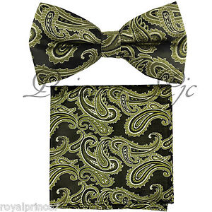 NEW-MEN-039-S-Paisley-Bow-tie-and-Pocket-Square-Hankie-Set-Wedding-Party-Prom-Formal