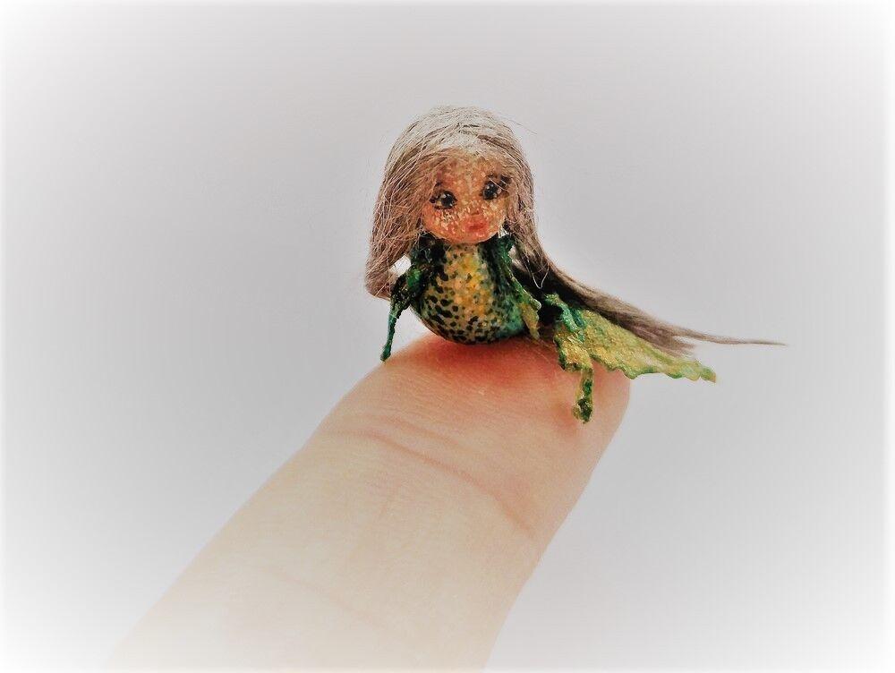 Mermaid OOAK Wooden Miniature 1.6cm 0.63  Art Doll by Julia Arts