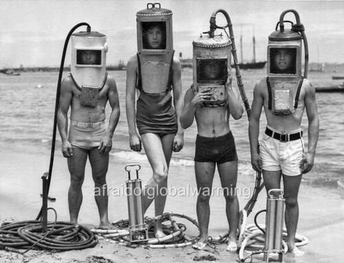 Old Photo Homemade Equipment Young Divers