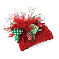 Mud Pie Red Crochet Ostrich Christmas Hat Holiday Winter One Size 0-12 Mos